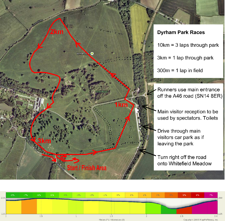 Dyrham Park 10km Map