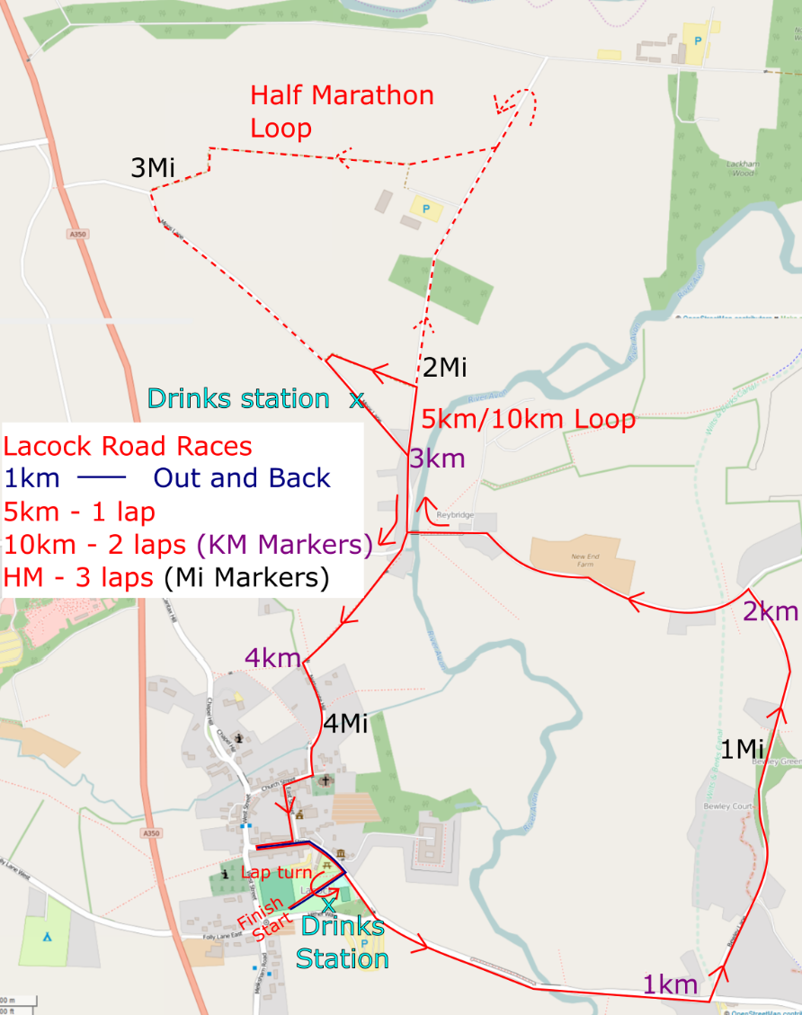 Lacock Half Marathon 10km Road Races Map