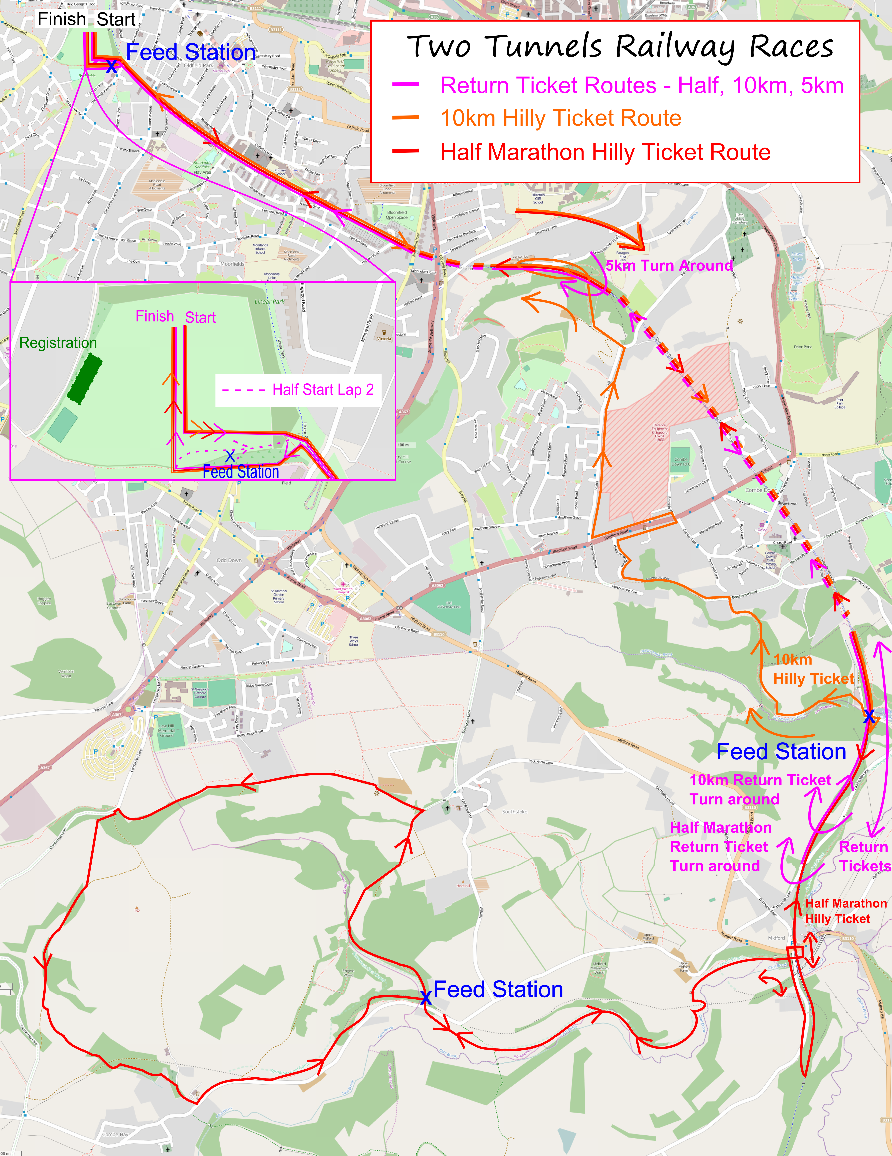 Two Tunnels race hilly race route map